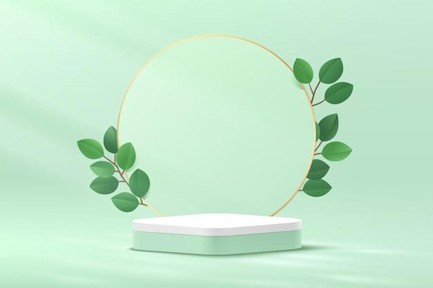 원 배경과 녹색 잎이 있는 추상 3d 녹색 및 흰색 둥근 모서리 큐브 플랫폼 연단