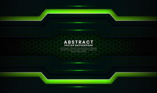 추상 3d 녹색 기술 배경 겹침 레이어와 밝은 선 효과 장식