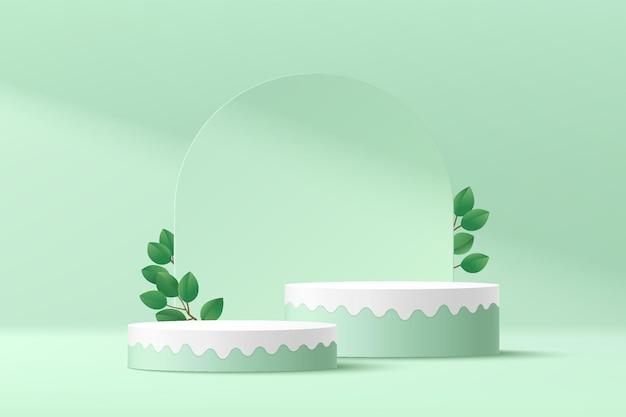 추상 3d 녹색 흰색 실린더 받침대 연단 녹색 잎 현대 유체 모양 플랫폼