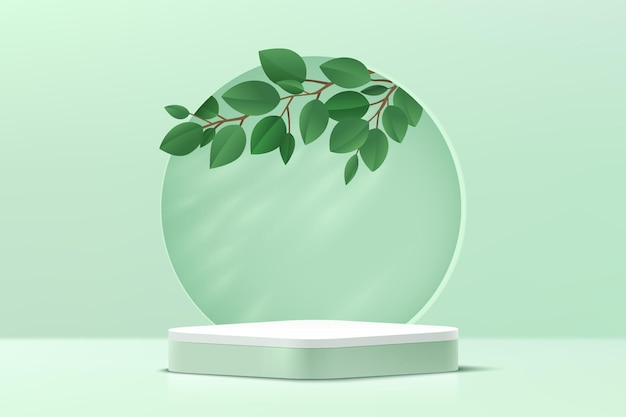 Abstract 3d green and white round corner cube pedestal podium with leaf inside circle on the wall