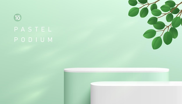 Abstract 3d green and white round corner cube pedestal podium with window lighting and green leaf