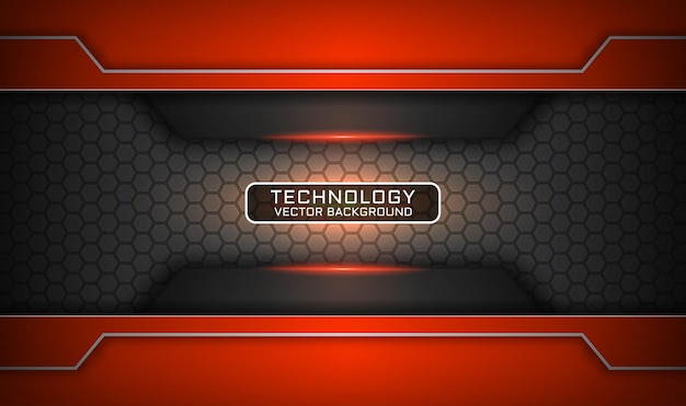 Abstract 3d grey and orange technology background, overlap layer with light effect