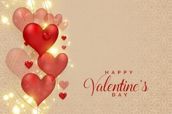 Абстрактные 3d сердца на светящиеся блестки на день Святого Валентина