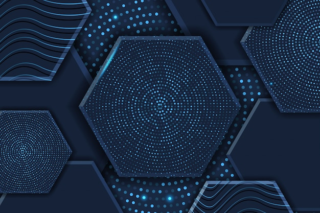 Abstract 3d hexagon luxury background with glowing halftone pattern