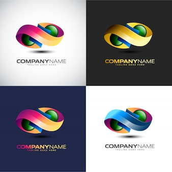 あなたの会社のブランドのための抽象的な3d infinityロゴのテンプレート