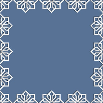 Abstract 3d islamic frame - background mosaic geometric ornament in arabic style