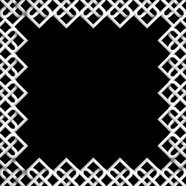 Abstract 3d islamic frame on black - background mosaic geometric ornament in arabic style