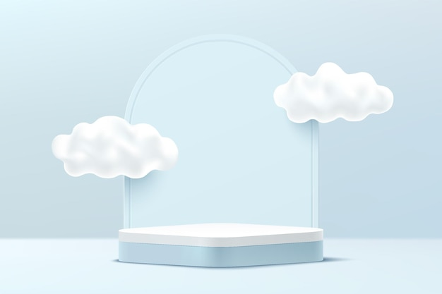 雲の空と幾何学的な背景を持つ抽象的な3d水色と白の丸い角の台座の表彰台