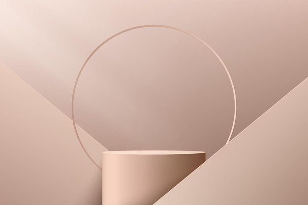 Abstract 3d light brown cylinder pedestal podium with geometric shape and luxury ring backdrop