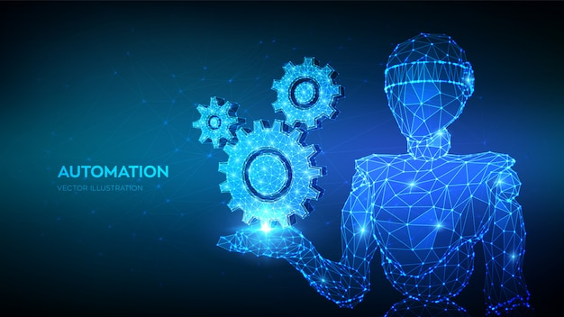 Abstract 3d low polygonal robot holding gears. mechanical technology machine engineering symbol in hand.
