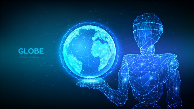 Abstract 3d low polygonal robot holding planet earth globe. global network connection.