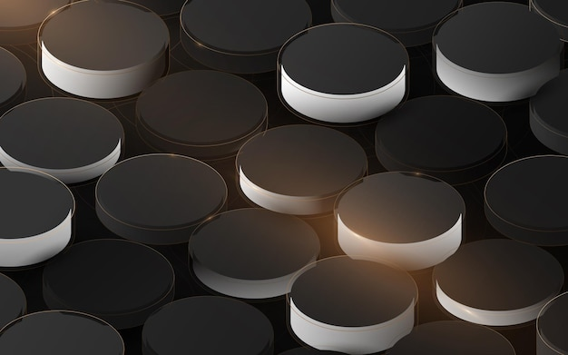 Abstract 3d luxury cylinder structure pattern. elegant gold, black and white geometric background. vector illustration