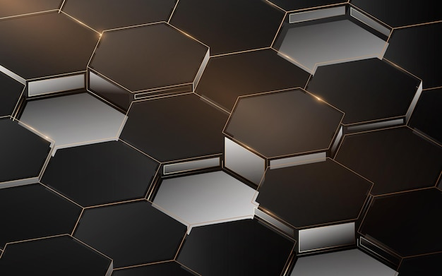 抽象的な3dの豪華な六角形の構造パターン。エレガントなゴールド、黒と白の幾何学的な背景。ベクトルイラスト