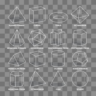 Abstract 3d math geometric outline shapes isolated