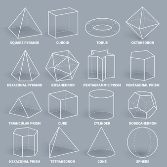 Abstract 3d math geometric outline shapes vector set