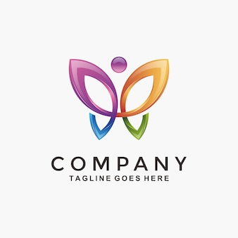 Abstract 3d modern colorful butterfly logo