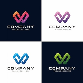 Abstract 3d modern letter w logo
