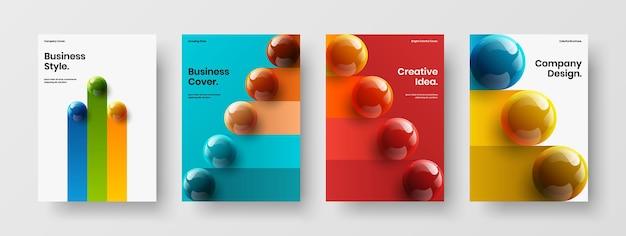 Коллекция макетов обложки книги абстрактных 3d сфер