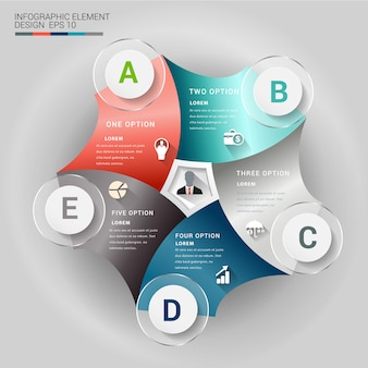 Abstract 3d origami paper infographic element.