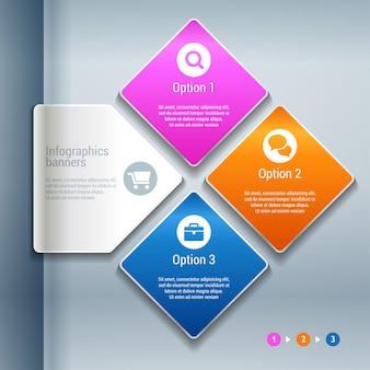 Абстрактная иллюстрация 3d бумаги инфографика