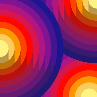 Абстрактная 3d papercut с фоном кругов градиента оттенков. желтый, розовый, красный и синий цвета. современный дизайн вектор.