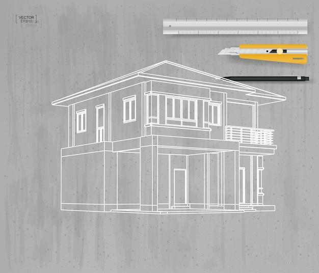 Абстрактный каркас перспективы 3d дома на серой конкретной предпосылке текстуры. векторная иллюстрация.