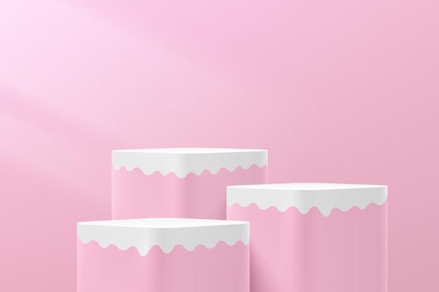流体形状のプラットフォームピンクの最小限の壁のシーンと抽象的な3dピンクと白のキューブ台座表彰台