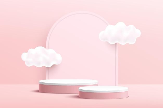 雲の空とアーチの幾何学的な背景を持つ抽象的な3dピンクと白のシリンダー台座表彰台