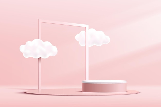 雲の空と幾何学的な正方形のフレームと抽象的な3dピンクと白のシリンダー台座表彰台