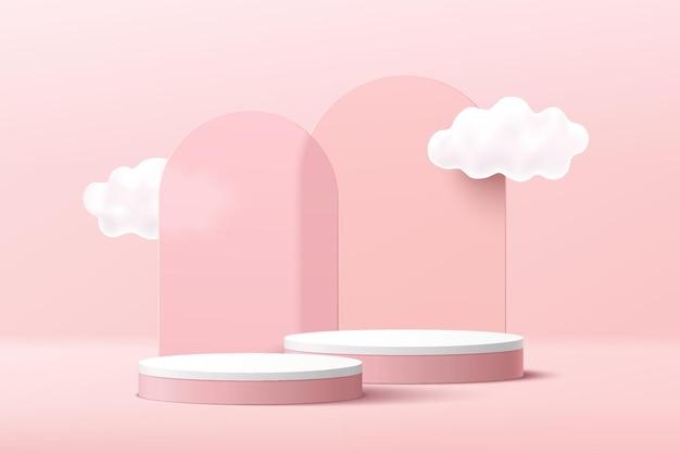雲の空とアーチガラスの幾何学的な背景を持つ抽象的な3dピンクと白のシリンダー台座表彰台