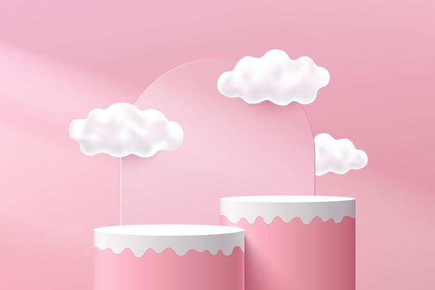 雲の空とアーチの幾何学的な背景を持つ抽象的な3dピンクホワイト流体シリンダー台座表彰台