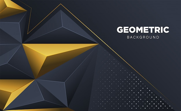 Abstract 3d polygon triangle with dark