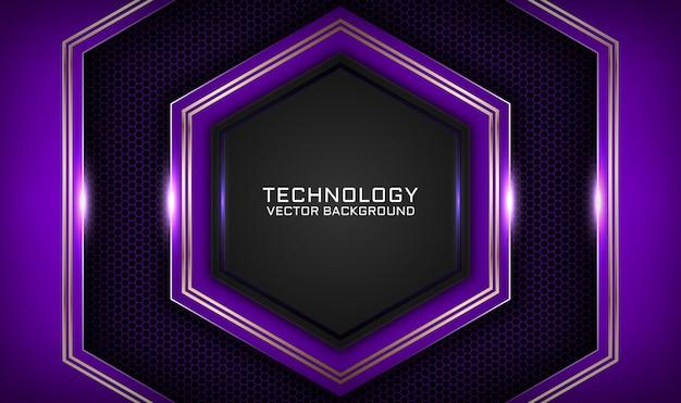 暗い空間に金属線の効果を持つ抽象的な3d紫と黒の技術の背景