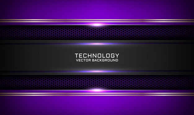 Abstract 3d purple and black technology background with metallic lines effect on dark space