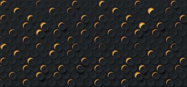 어두운 검정색 배경에 추상 3d 임의의 황금 점선 패턴