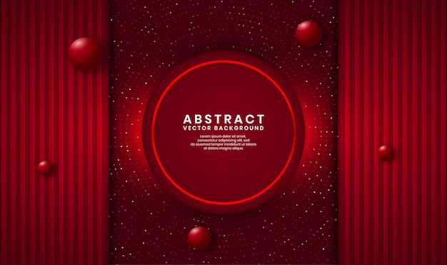 Abstract 3d red circle luxury background overlap layer on dark space with dots glitter and wood textured shape