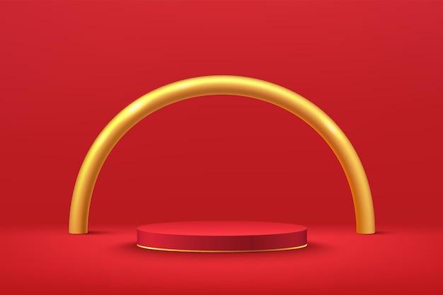 金色の半円を背景に濃い赤の壁のシーンで抽象的な3d赤いシリンダー台座または表彰台