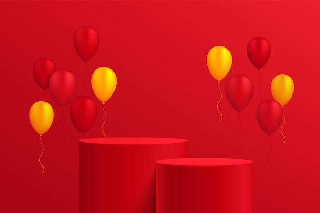 赤と黄色の風船と濃い赤の壁のシーンで抽象的な3d赤いシリンダー台座またはスタンド表彰台