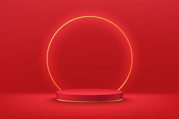 輝く金色のリングダークレッドの最小限の壁のシーンと抽象的な3d赤いシリンダー台座表彰台