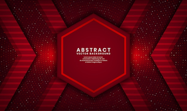 Abstract 3d red hexagon luxury background overlap layer on dark space with dots glitter and wood textured shape