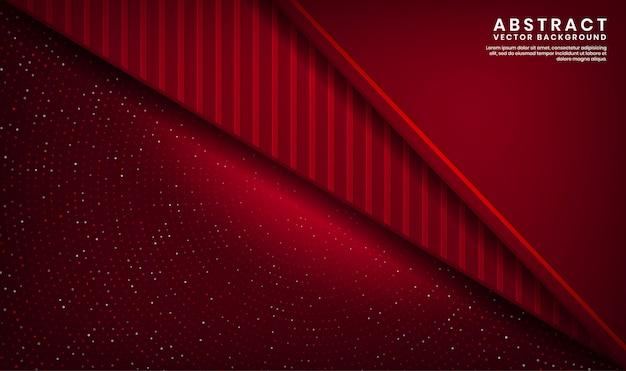 ドットキラキラとウッドテクスチャ形状の暗い空間上の抽象的な3 d赤い豪華な背景重複レイヤー