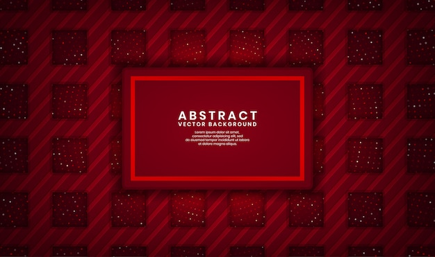 Abstract 3d red rectangle luxury background overlap layer on dark space with dots glitter and wood textured shape