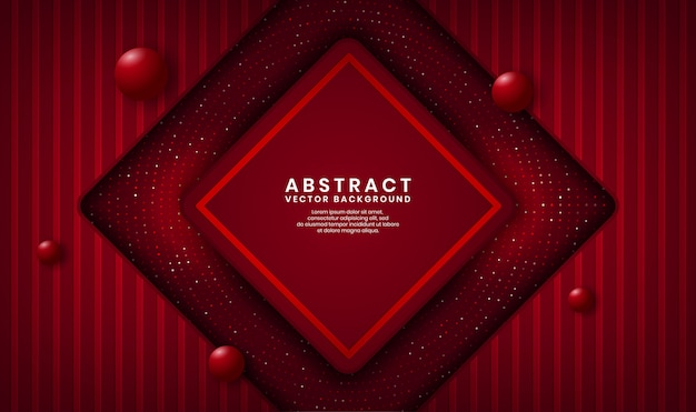 Abstract 3d red rhomb luxury background overlap layer on dark space with dots glitter and wood textured shape