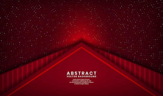 Abstract 3d red triangle luxury background overlap layer on dark space with dots glitter and wood textured shape