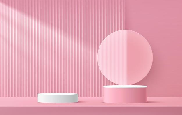 투명 유리 원 모양이 있는 추상 3d 렌더링 흰색 및 분홍색 실린더 받침대