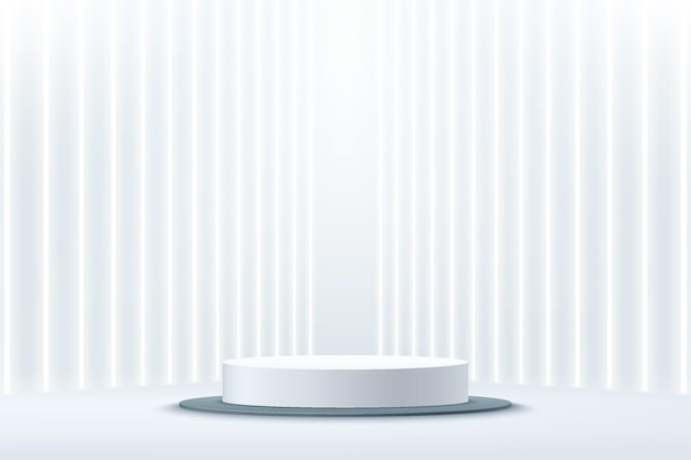 Abstract 3d rendering white cylinder pedestal podium with glowing perspective vertical neon tube