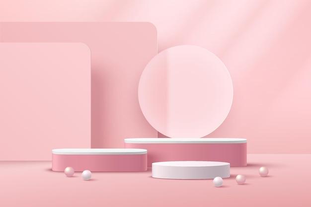 투명 유리 반지 분홍색과 흰색 구체와 추상 3d 렌더링 흰색 실린더 받침대 연단