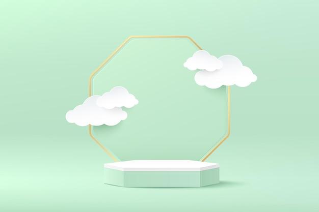 링과 흰 구름 종이 컷 스타일이 있는 추상 3d 렌더링 흰색 녹색 육각형 받침대 연단