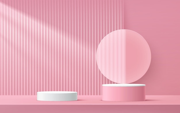 Abstract 3d rendering white and pink cylinder pedestal podium with transparent glass circle shape