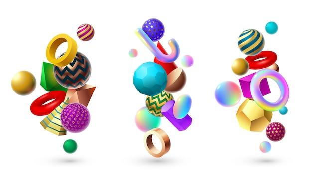 Абстрактная композиция в форме 3d. геометрические базовые формы мемфиса, геометрия куба и сфер